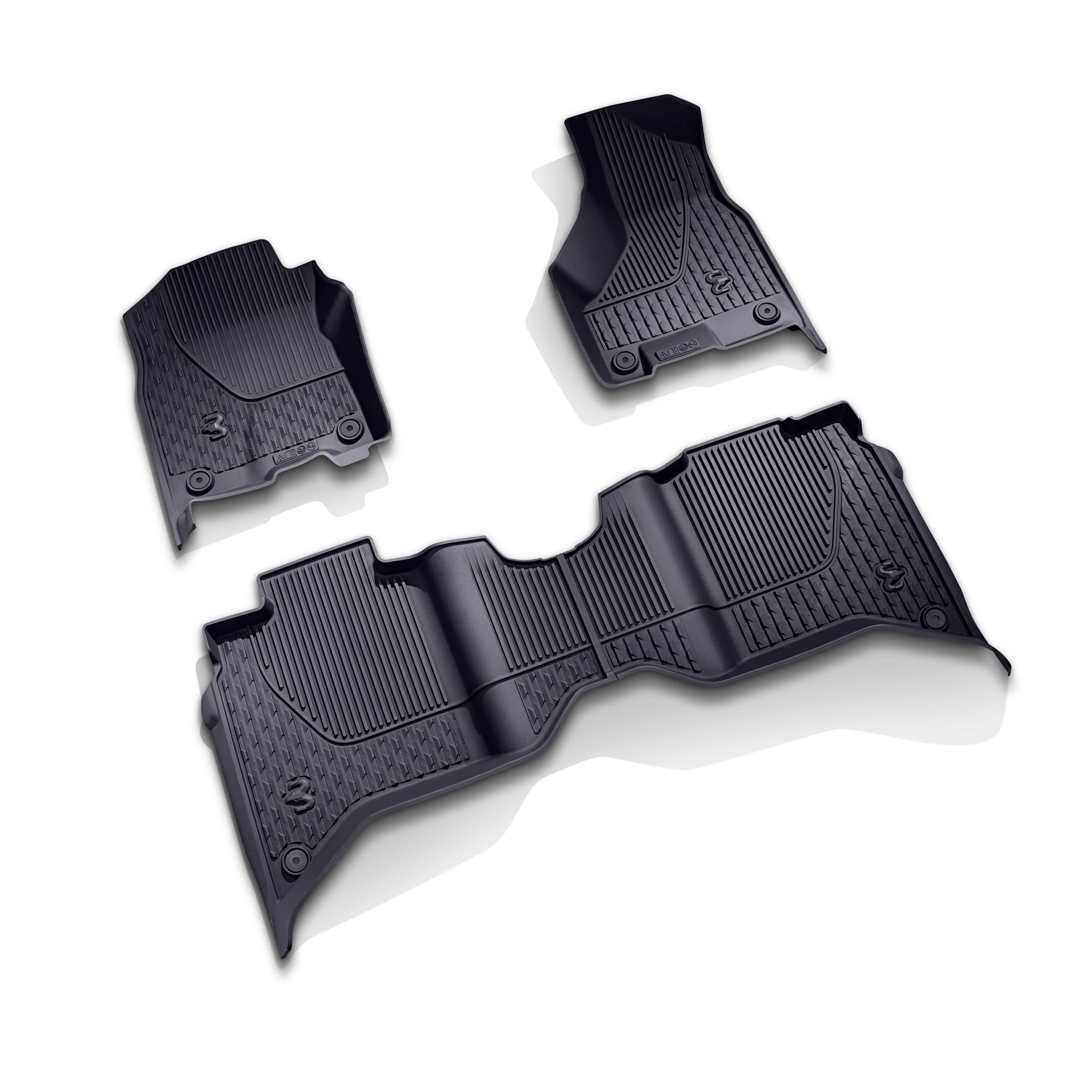 OEM 2020 Ram 2500 HD All-Weather Mat Kit - Crew Cab with Bucket Seats - Black (Part #82215754AC)
