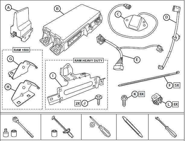 OEM 2019 Ram 2500 HD Fleet Telematics Module Kit (Part #82216095AB)