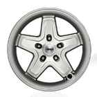 OEM 2013 Jeep Wrangler JK 4-Door 17 x 8.5 Inch Pintler Silver Classic 5 Spoke (Part #P5155981AB)